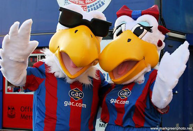 Premier side - Crystal Palace Football Club mascots, The Eagles - Peter and Alice.